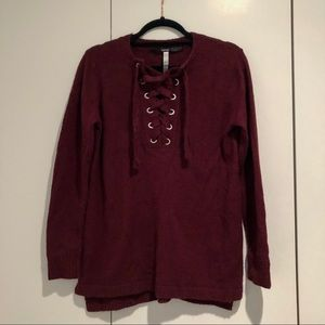 Kensie Lace Up Sweater